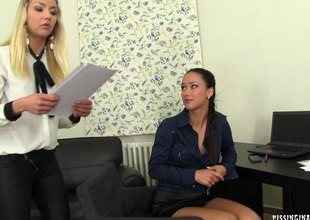 Roasting lesbian POSSLQ = 'Person of the Opposite Sex Sharing Living Quarters' with lengthy blond hair getting their way bald pussy trained