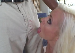 Light-complexioned babe receives facial cumshot after throat fucking black cock