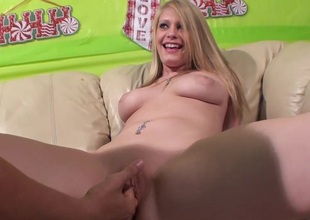 Accepting  tow-haired with natural tits enjoying her shaved pussy being fingered
