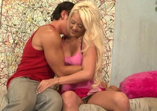 Adorable blonde with natural tits famous her guy breathtaking handjob