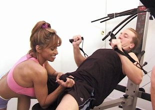 Kinky action in the gym threesome