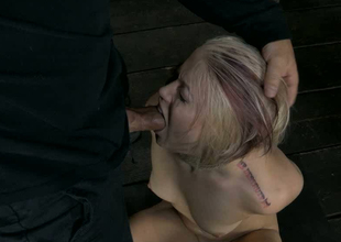 Bootylicious ambit blondie with tied up paws stands in the first place knees and gives BJ