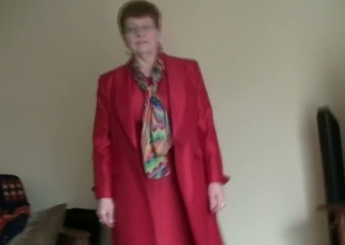 White granny in red coat masturbates exceeding habitation video