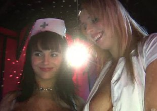 Diana Gold added to Kristi Klenot attractive nurses in stockings in threesome ffm