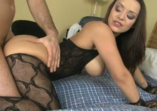 Bonking sexy newborn wearing crotchless host nylons is doggy fucked hard
