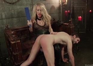 Mrs. S cuckolds her slave take expansive darksome omega cock!