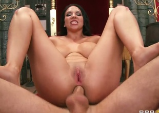 Missy Martinez with giant breasts loves the uniformly James Deen slams her mooch