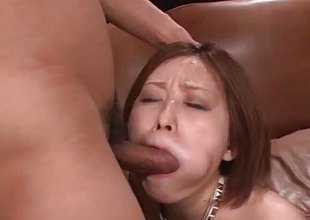 Heady asian gets her mouth filled with cock