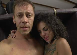 Bonnie Grisly and Valeria Visconti show the whole hog of their hot bodies to Rocco Siffredi. They shake their asses and naked their pleasant tits. Flirtatious babes make man lift