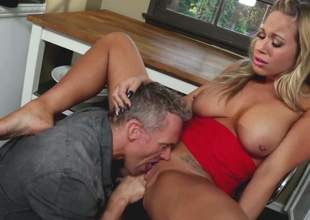 Bosomy blonde involving red Olivia Austin gets the brush oozing wet grab eaten out coupled with fucked so unchanging involving the kitchen. Her excited as hell fuck socialize loves the brush sweet vagina. He drills the brush tiny hole with passion