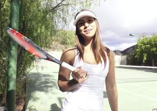 Sexy tennis girl Sara Luvv in white unvarying flaunts the brush sexy booty outdoors added to now plays nearby casual dudes hard cock. Free and easy hottie Sara Luvv gives hand added to head on the brush knees