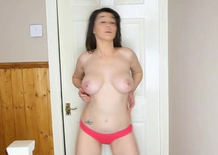 Sexy British loveliness back her bathroom stripping sensually