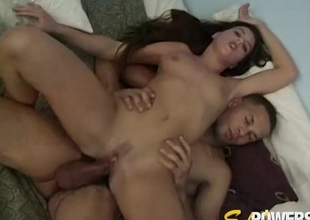 Interracial foursome with a confidential of hot brunettes