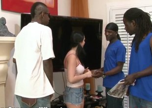 Pigtailed girl does a gangbang with the large black cocks