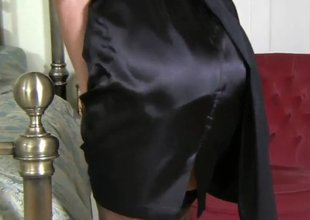 Milf in darksome satin