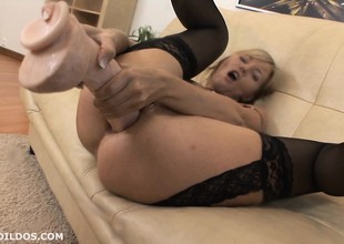 Tow-headed milf punishes her asshole with a brutal sex gadgetry
